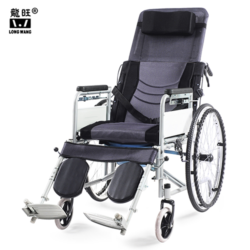 Full Reclining Foldable Commode Manual Wheelchair